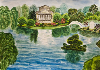 House with park, painting