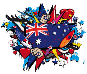 Graffiti Australia flag pop art aussie illustration