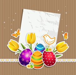 Easter greeting card with bird