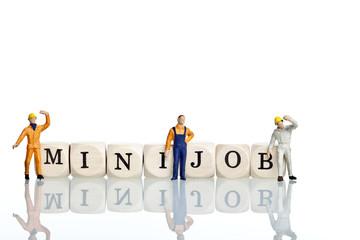 Holwürfel Minijob mit Arbeiter Figuren
