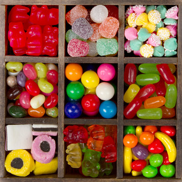 assortment of candy for a background