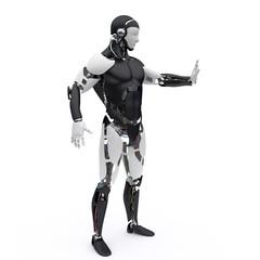 Robot say stop