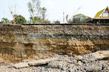 Layer of soil beneath the asphalt road.