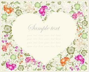 Illustration geranium. Decorative heart