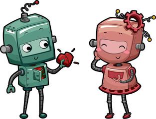 Spoed Foto op Canvas Robots Robot Heart