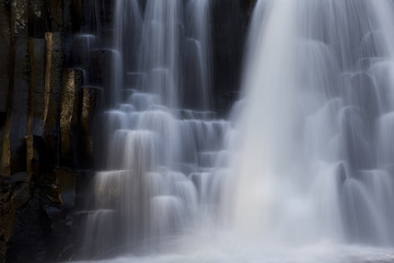 Beautiful waterfall, long exposure with white, milky water.