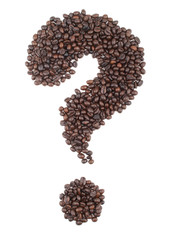 Question sign made  of coffee beans
