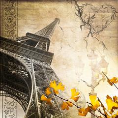 Collage carré tour Eiffel romantique rétro