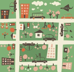 Wall Murals On the street cartoon seamless map