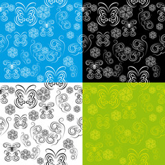 abstract seamless pattern with butterflies