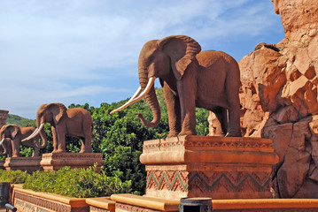 statue of elephants in Lost City, South Africa