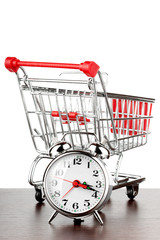 Shopping cart and alarm clock