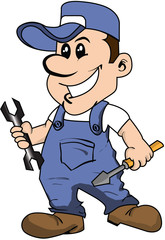 Mechanic with spanner and screwdriver