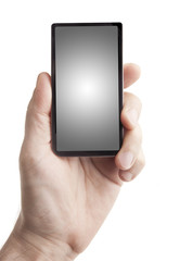 Hand holding smart phone on white (screen has clipping path)