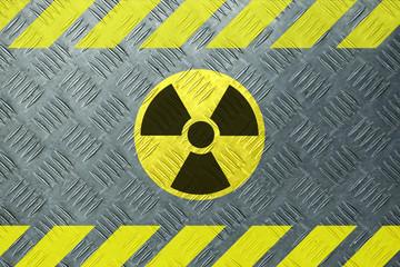 Radioactivity sign on metal