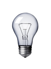 Classic Light bulb turned off isolated on white