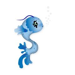 Illustration cute blau Fisch