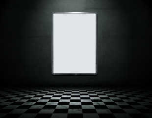 Modern blank metal frame in empty grunge interior with clipping