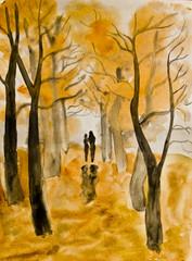 Couple on autumn alley, painting