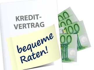 schema kreditvertrag bequeme raten euro geld banknoten
