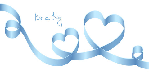 "Satin Bow Blue 2 Hearts Birth ""It´s a boy"""