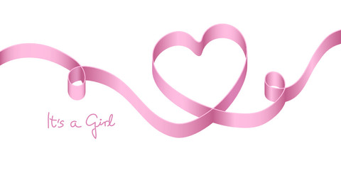 "Satin Bow Pink Heart Birth ""It´s a girl"""