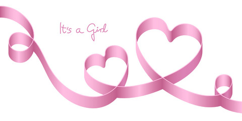 "Satin Bow Pink 2 Hearts Birth ""It´s a girl"""