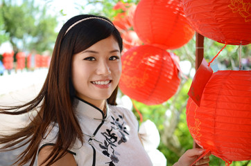 Happy young chinese woman