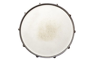 Snare drum top view isolated on white