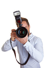 Hochzeitsfotograf mit Kamera und Blitz
