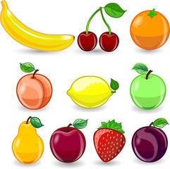 Мультфильм апельсин, банан, яблоко, груша,  персик, слива, лимон