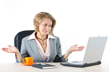 Businesswoman with do not know gesture