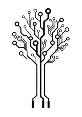 Vector logo circuit board tree