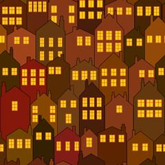 seamless night city house pattern