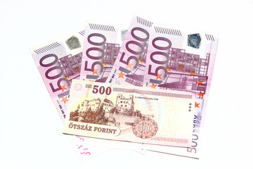 500 Euro with 500 Forint