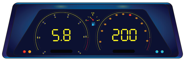 Indicator panel in the car