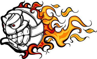 Volleyball Ball Flaming Face Vector Image