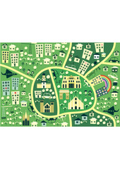 Acrylic Prints On the street cartoon seamless map of milan