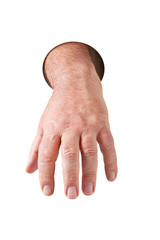 Hand steckt im runden Loch