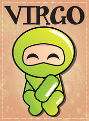 Zodiac sign Virgo with cute ninja character
