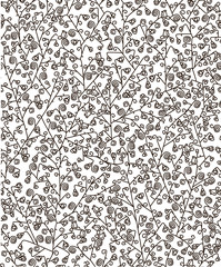 Seamless pattern of flora and birds.