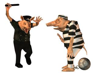 wütender polizist mit häftling als schweine comic