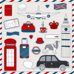 Papiers peints Doodle London travel icons