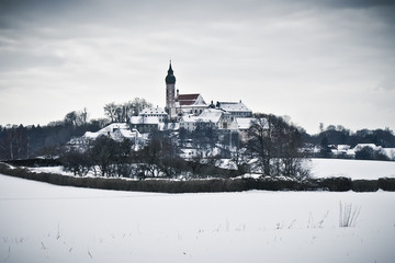 Andechs Monastery in winter scenery