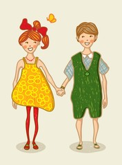 Birthday, Valentine Love Card. Boy and girl holding hand
