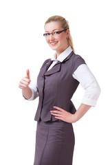 junge Geschäftsfrau mit Erfolgsgeste