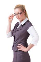 unzufriedene junge Geschäftsfrau