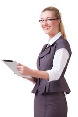 junge blonde Geschäftsfrau mit Tablet Computer