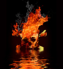 skull in fire with reflection