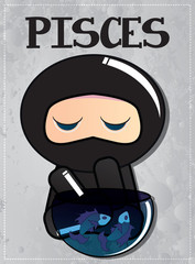 Zodiac sign Pisces with cute ninja character
